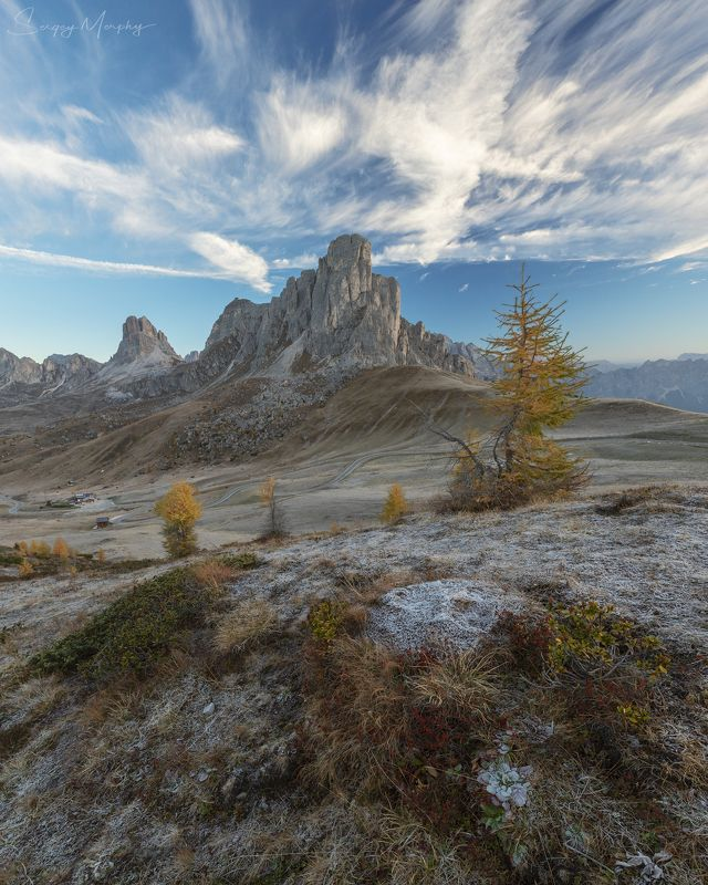 Freezing sunrise. Passo Giau.photo preview