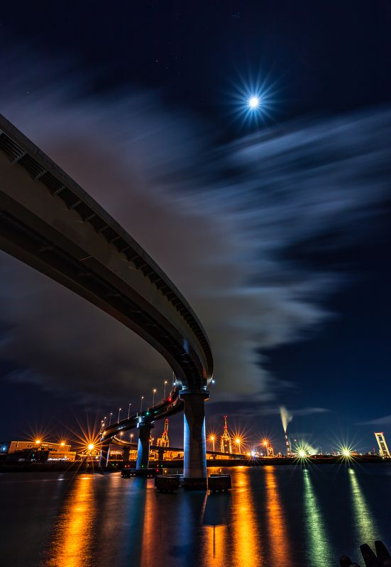 moon nightscape road sea japan long exposure  \