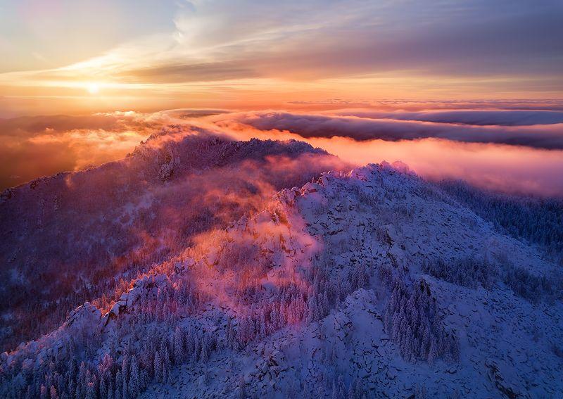 таганай, зима, урал, горы, лес Закат над Двуглавой сопкойphoto preview