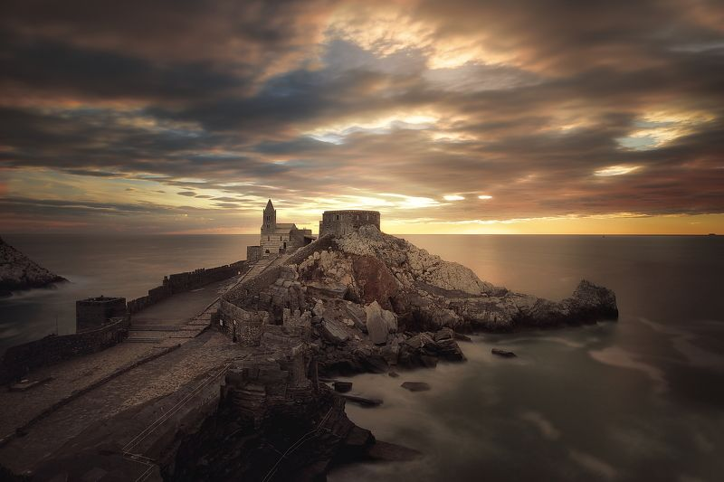 sunset   long exposition  sea Portovenere the Churchphoto preview