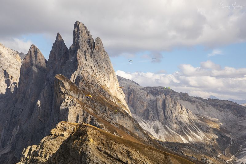 seceda paraglider dolomites Seceda & paragliders. Dolomites.photo preview