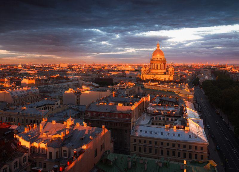 Санкт-Петербург, город, рассвет, высота, храм, крыша, пейзаж, архитектура Город просыпаетсяphoto preview