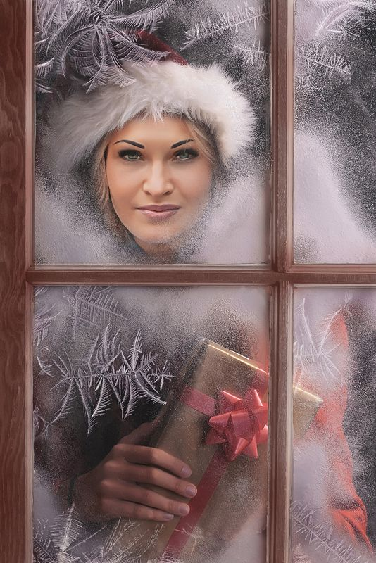зима, девушка, блондинка, окно, мороз, подарок Милый Санта!photo preview