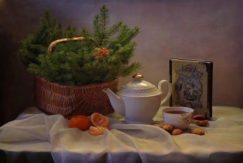натюрморт, зима, декабрь, мандарины, чай, фарфор, печенье, ель Декабрьские вечераphoto preview