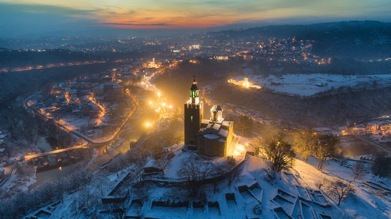 sunset, carevec, winter, night, lights, bulgaria, veliko tarnovo, drone, aerial view Sunset over Carevec fortressphoto preview