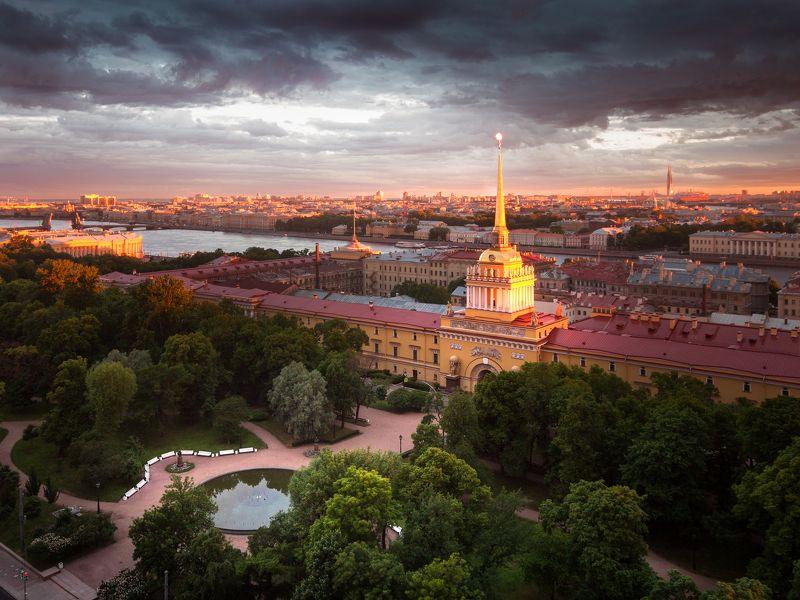 Санкт-Петербург, город, крыша, архитектура, пейзаж, рассвет Адмиралтействоphoto preview