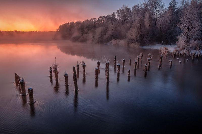 шатура, пейзаж, озера, сваи, вода, рассвет, зарево, туман, лед, снег, декабрь Первый день зимы в Шатуреphoto preview
