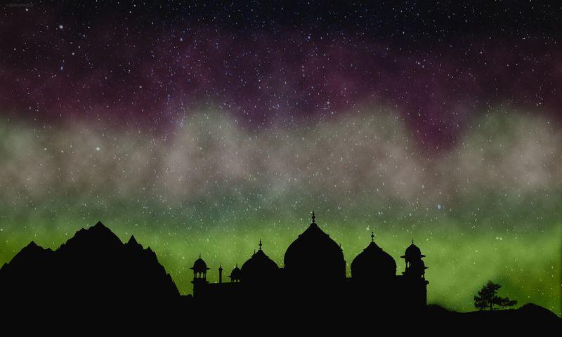 ночь, небо, дворец, горы Тысяча и одна ночьphoto preview