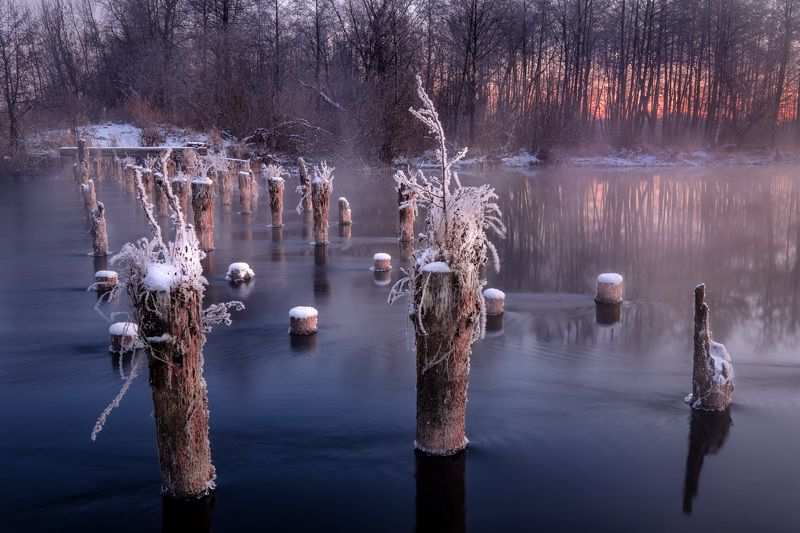 шатура, пейзаж, озеро, белое, сваи, зима, лед, снег, вода Стойкие деревянныеphoto preview