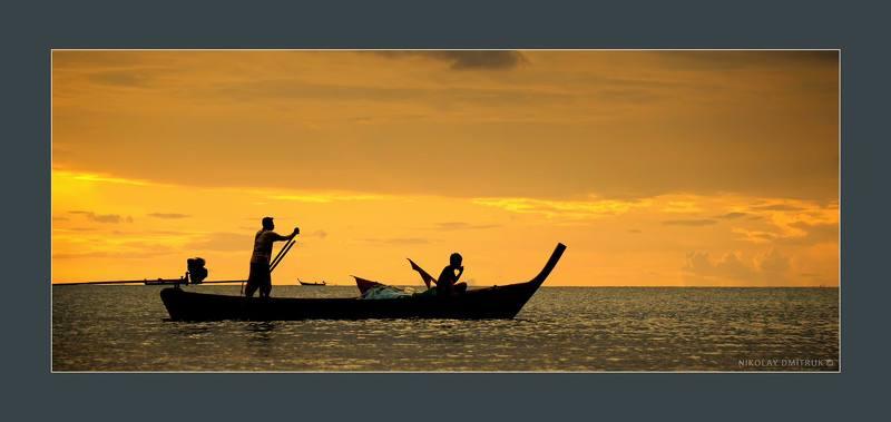 пейзаж закат. океан. рыбаки. остров Ko Lanta.photo preview