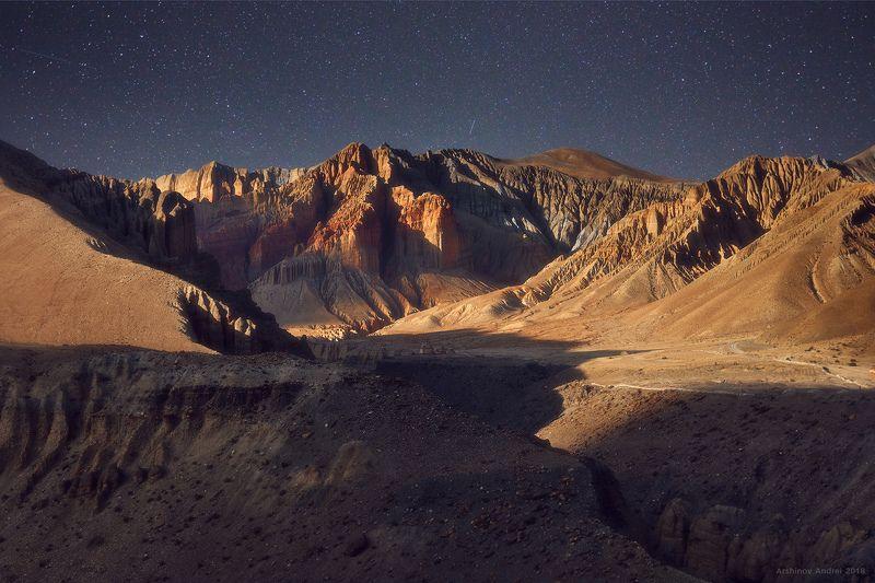 nepal, mountains, upper mustang, moonlight, Другая планетаphoto preview