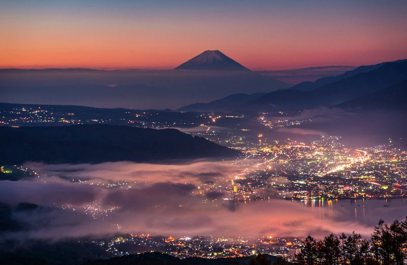 long exposure mountain nature landscape  cityscape lake japan lights The miracle of Mt Fujiphoto preview