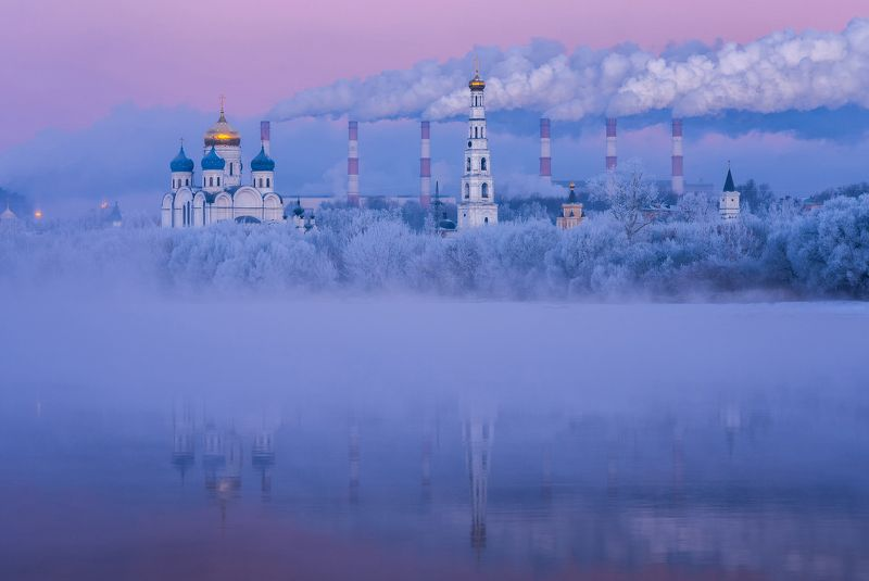 утро, рассвет, природа, туман, река, мороз, николо-угрешский монастырь Первый день зимыphoto preview