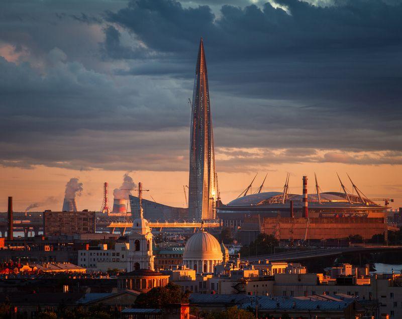 Город, крыши, Лахта, храм, стадион, рассвет, небоскреб, панорама, пейзаж Лахтаphoto preview