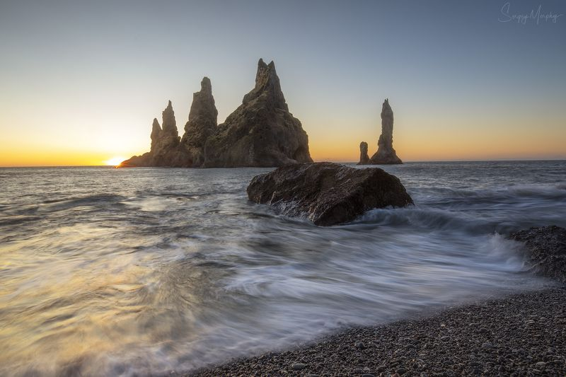 reynisdrangar iceland Sunrise and Reynisdrangar. Icelandphoto preview