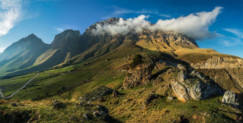 природа, пейзаж, кавказ, горы, весна, вечер, панорама, небо, облака, свет photo preview