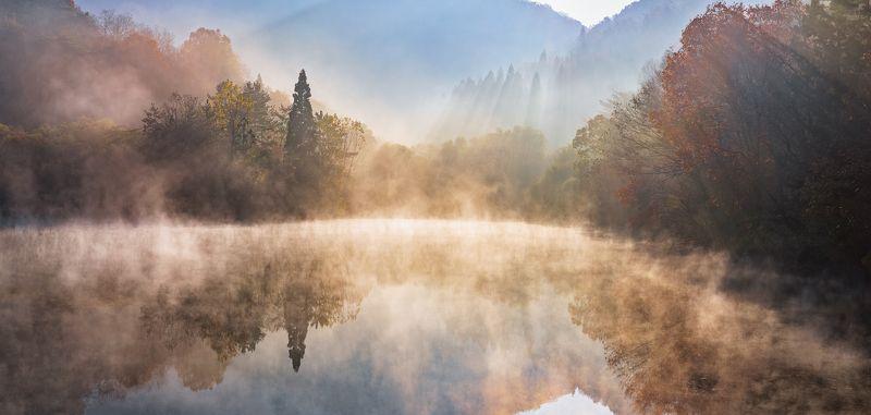 reflection, foliage, Autumn, foggy, morning Autumn light of Selyangjiphoto preview