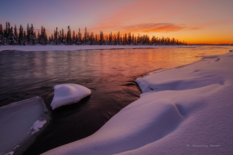 кольский, север,заполярье, умба, река, Умба зимой.photo preview