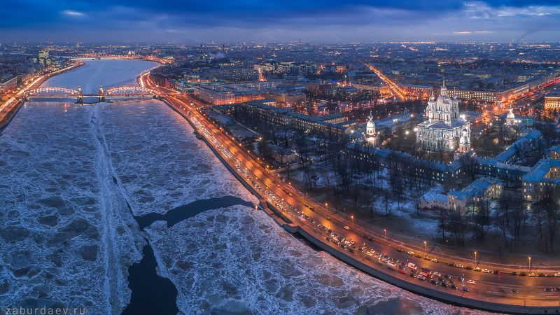 россия, петербург, санкт-петербург, вечер, зима, лед, аэрофотосъемка, дрон, квадрокоптер Лёд всталphoto preview