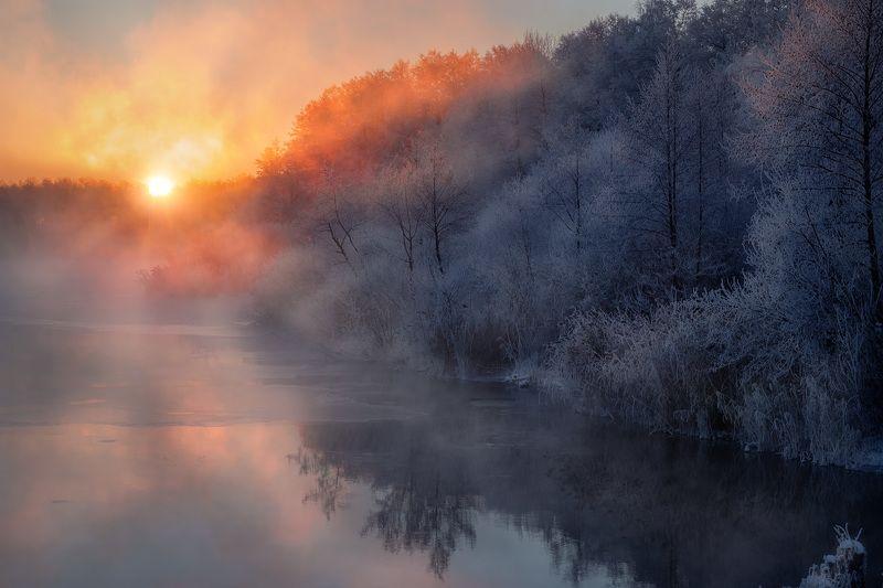 шатура, пейзаж, озеро, вода, рассвет, зарево, туман, лед, снег, декабрь Декабрьский рассветphoto preview