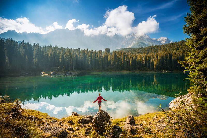 dolomites, dolomiti, italy, italia, amore, lago, alps, landscape, light, rocks, mountains, shadows, beautiful, trees, reflection, carezza Freedomphoto preview