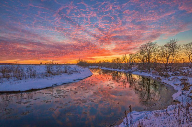 зима, река, вечер, закат Вечер ярких впечатленийphoto preview