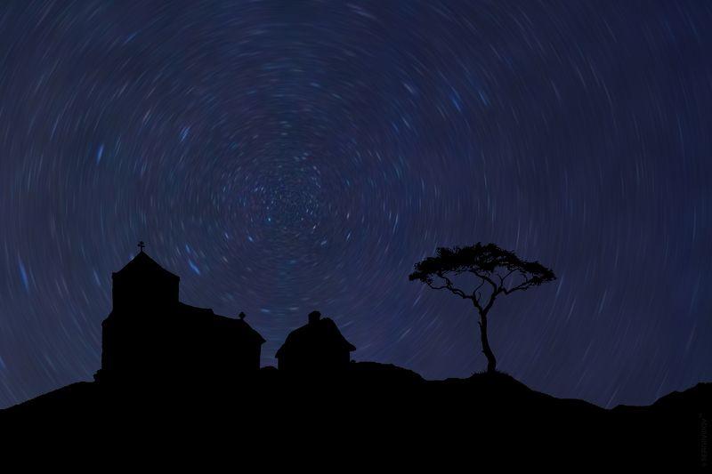 храм, небо, ночь, звезды, горы ******photo preview