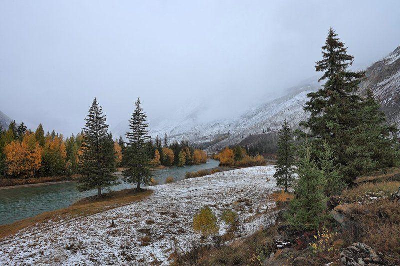 природа, пейзаж, горы, река, снег, осень Там в сентябре...photo preview
