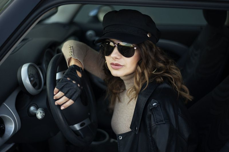 photo, woman, car, Fashion outdoor photo of woman with dark hair in black leather jacket and sunglasses photo preview