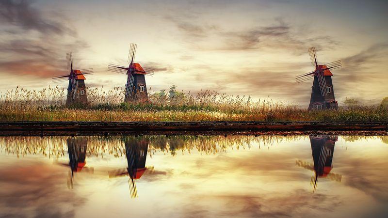 windmill reflection landscape sky water salt_pond autumn Korea Reflectionphoto preview