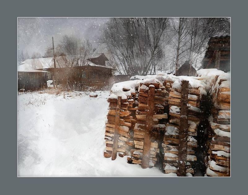 пейзаж метельно. деревня Курья. Россия 2018photo preview
