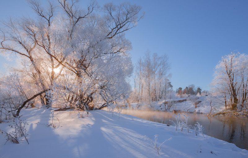 утро, рассвет, река, зима Зимнее солнцеphoto preview