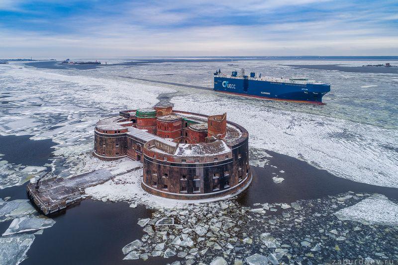 россия, петербург, санкт-петербург, кронштадт, зима, форт, крепость, дрон, квадрокоптер Форт Александр Iphoto preview