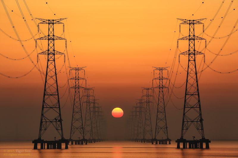 tower sunrise seaside power line morning landscape canon Korea Sunrise on the power towerphoto preview