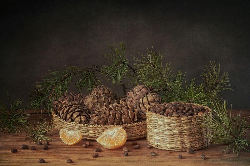 натюрморт,шишки,орехи,мандарин,кедр хвойный ))photo preview