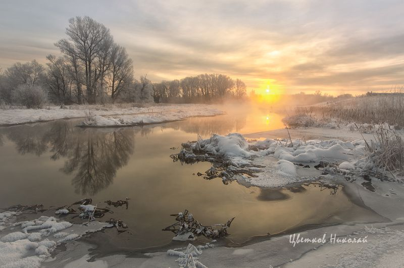 рассвет, декабрь, туман Рассветphoto preview