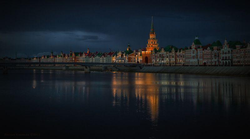 йошкар-ола, город, вечер, река, кошкага, отражения Настроение вечераphoto preview