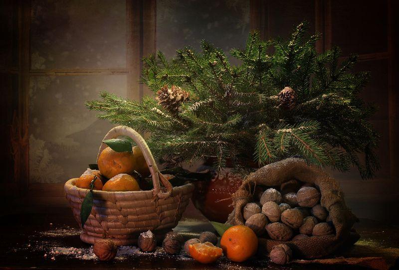 натюрморт, новый год, орехи, мандарины, корзина, зима Про мандарины и орехиphoto preview