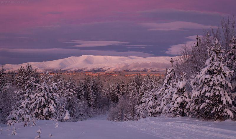 пейзаж,россия,горы,зима,хибины,кольский,север,снег,путешествие,панорама Вечерние Апатитыphoto preview