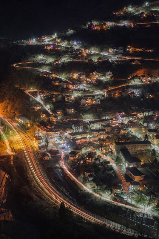 night, light, city, mountain, landscape, train, river  Night linesphoto preview