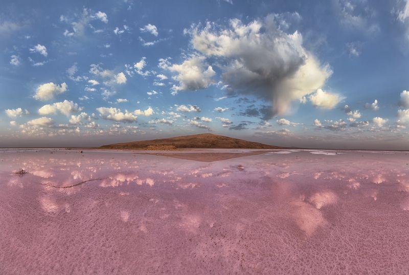крым, опук,заповедник,природа,розовое озеро,озеро,рассвет,лучи,солнце,облака,пейзаж,фототур,россия Нежность розового рассветаphoto preview