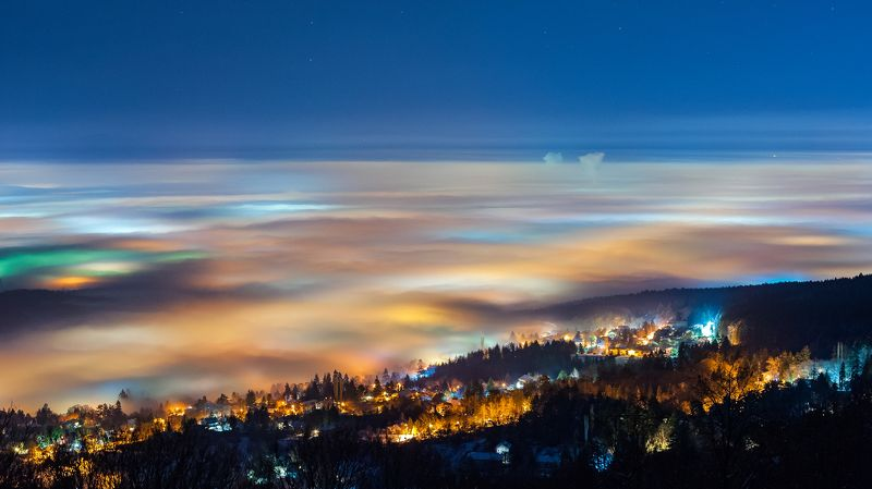 fog, foggy, night, lights, sky, landscape, mountain, sity, nature, forest, nikon The colors of the fogphoto preview