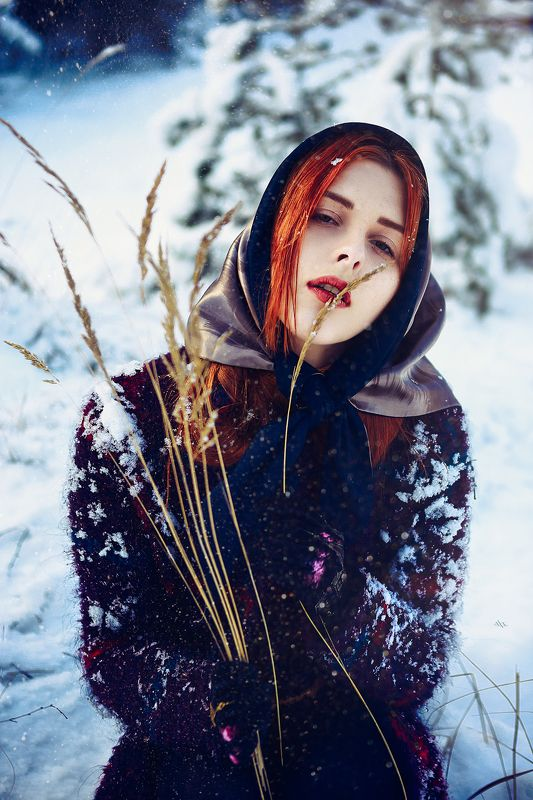 woman, beauty, fashion, art, outdoors, winter Siberian Voguephoto preview