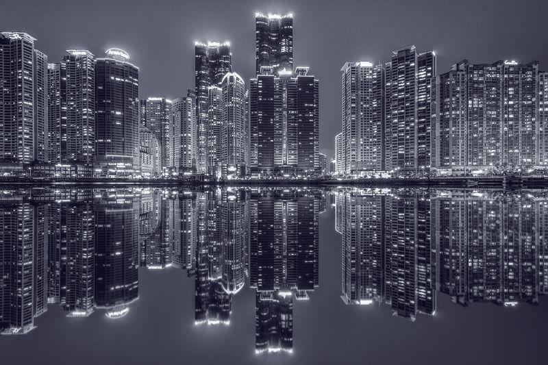 Busan Korea Building Reflection Night Water Reflectionphoto preview