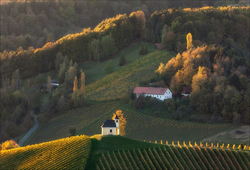 dreisiebner kapelle,свет,часовня,штирия,chapel,гамлитц,австрия,gamlitz- sernau,landscape,панорама,осень Последние отблески закатаphoto preview