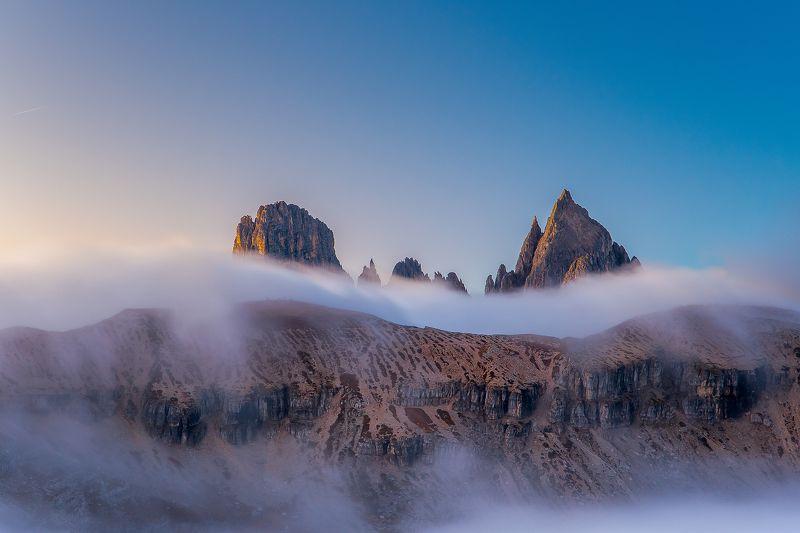 dolomites,dolomiti,dolomiten,tyrol,europe,cortina,auronzo,travel,moutain,moutains,fog,foggy,mist,misty,tre cime,national,park,tirol,italien,alpen,alps,italy, Foggy moutains.photo preview