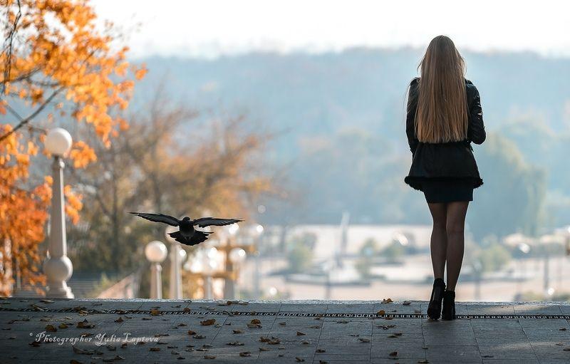 осень,девушка,россия,красота,птица \