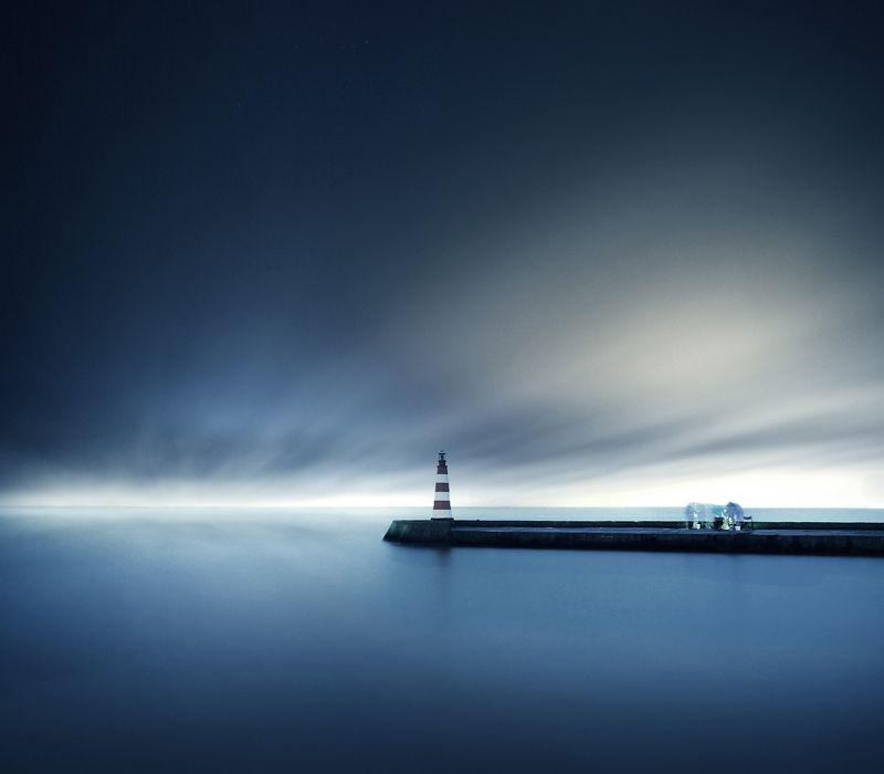 Lithuania, lighthouse, fisherman, long exposure *photo preview