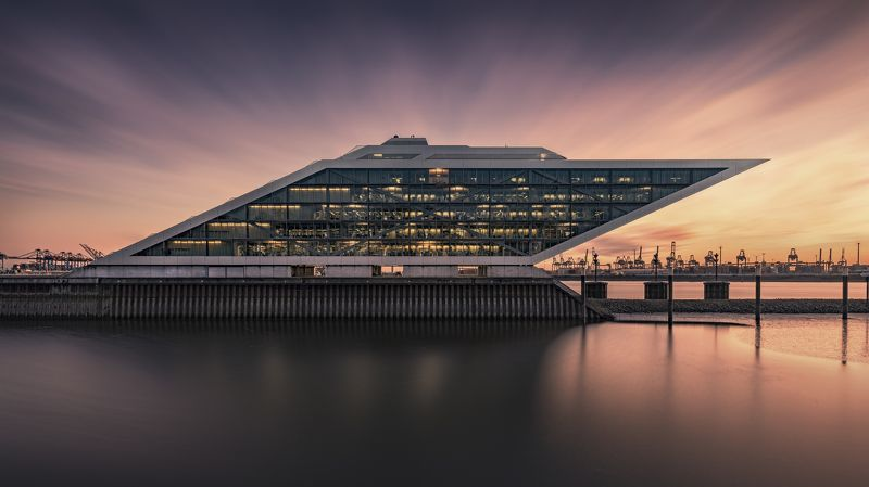 harbour, hamburg, water, sunset, clouds, building, architecture, longexposure Docklandphoto preview