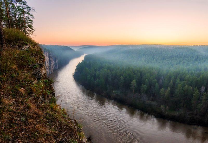 природа, пейзаж, урал,  весна, утро, восход, рассвет, река, панорама *photo preview